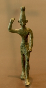 Ba'al with raised arm, 14th-12th century BC, found at Ras Shamra (ancient Ugarit), Image found in the Louvre Museum in Paris