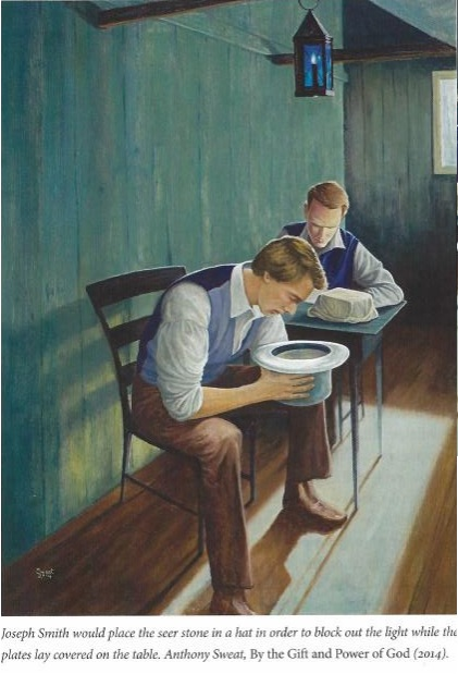 The book shows this painting. The caption states he is looking in a hat, blocking out light, but the light is sure getting in easily.
