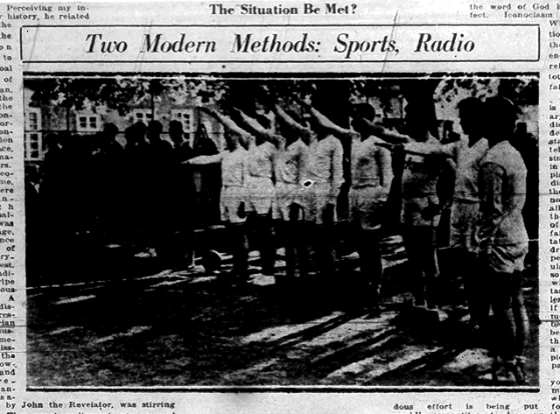 Deseret News photo praising Mormon Missionaries for assisting the Nazi basketball team